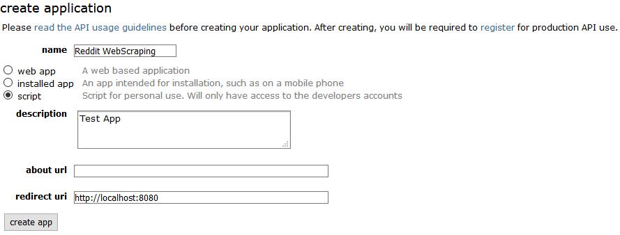Create a new Reddit Application