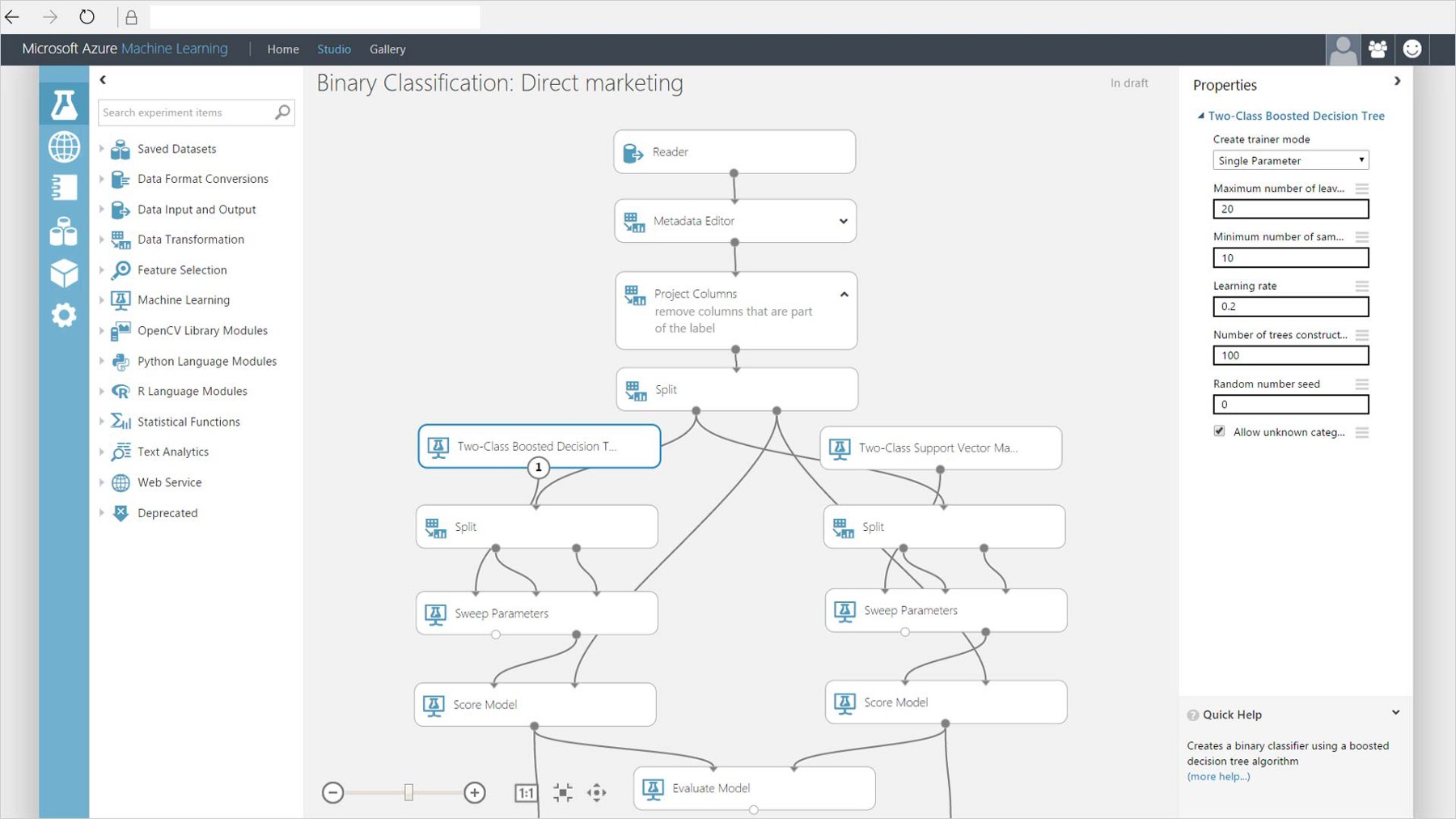 Code free Data Science with Microsoft Azure Machine Learning